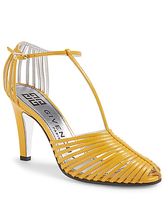 GIVENCHY Mignon Leather T-Strap Heeled Sandals Women's Yellow