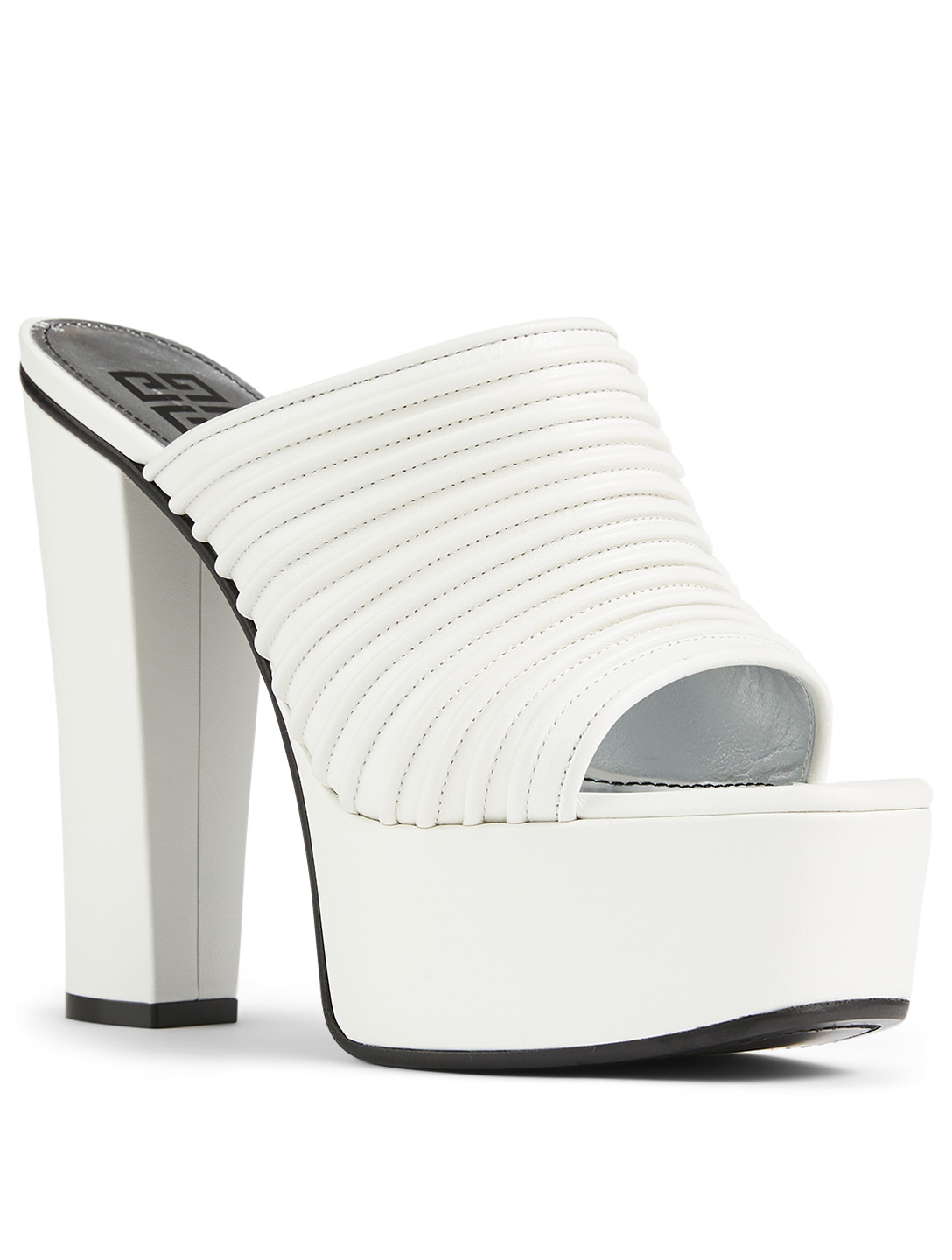 GIVENCHY Pleated Leather Platform Mules Women's White