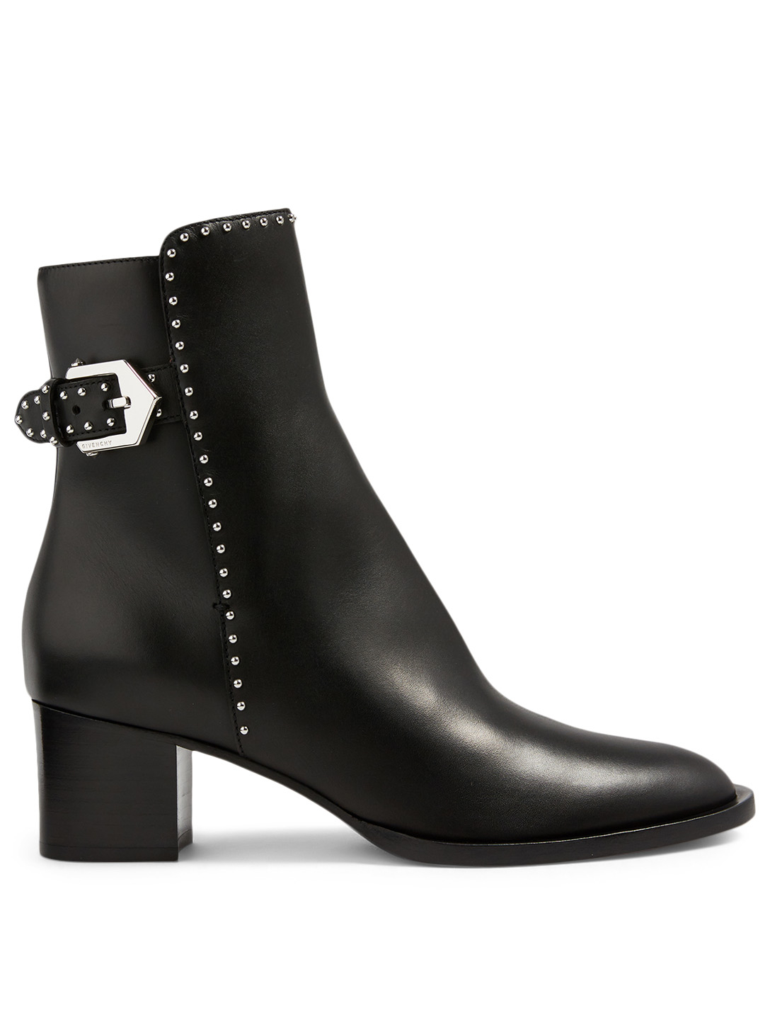 GIVENCHY Elegant Leather Heeled Ankle Boots With Studs Women's Black