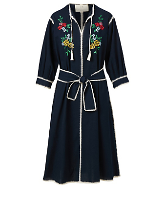 CAROLINA K Oaxaca Cotton Midi Dress With Floral Embroidery H Project Blue