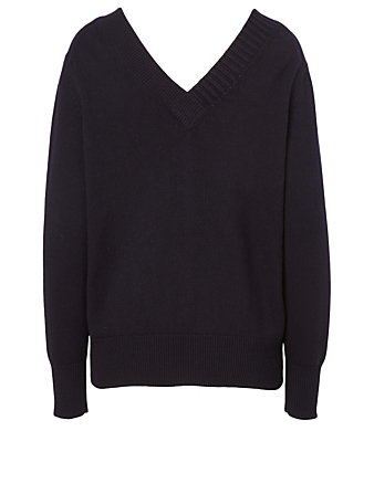 VICTORIA BECKHAM Cashmere Double V-Neck Sweater Women's Blue