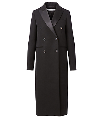 VICTORIA BECKHAM Wool Double-Breasted Long Coat Women's Black