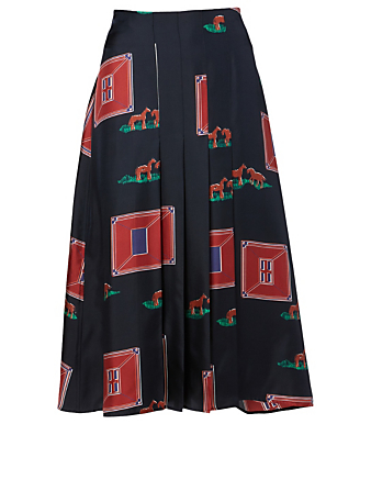 VICTORIA BECKHAM Silk Printed Skirt Women's Blue