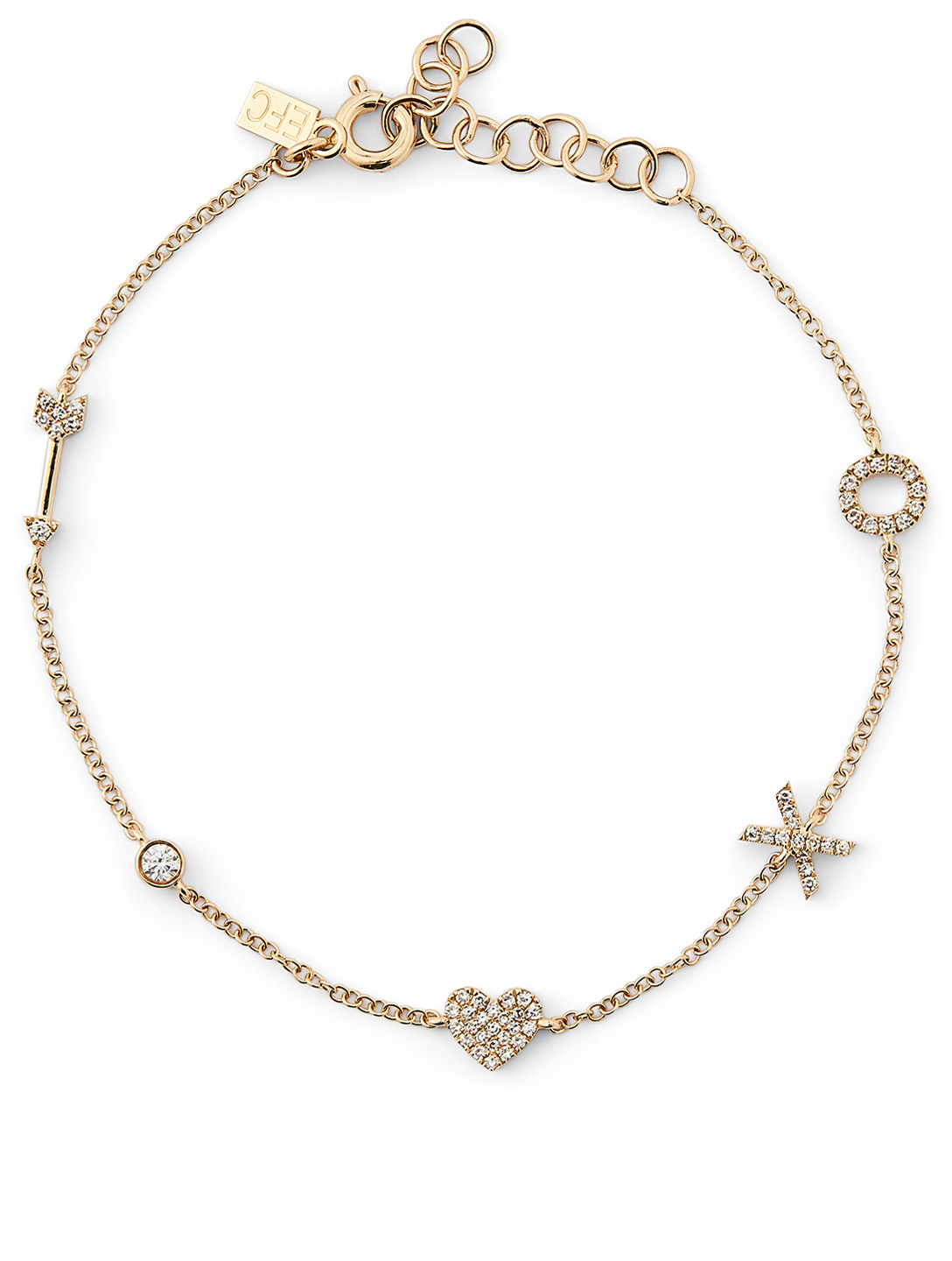 EF COLLECTION 14K Gold Sweetheart Charm Bracelet With Diamonds Women's Metallic