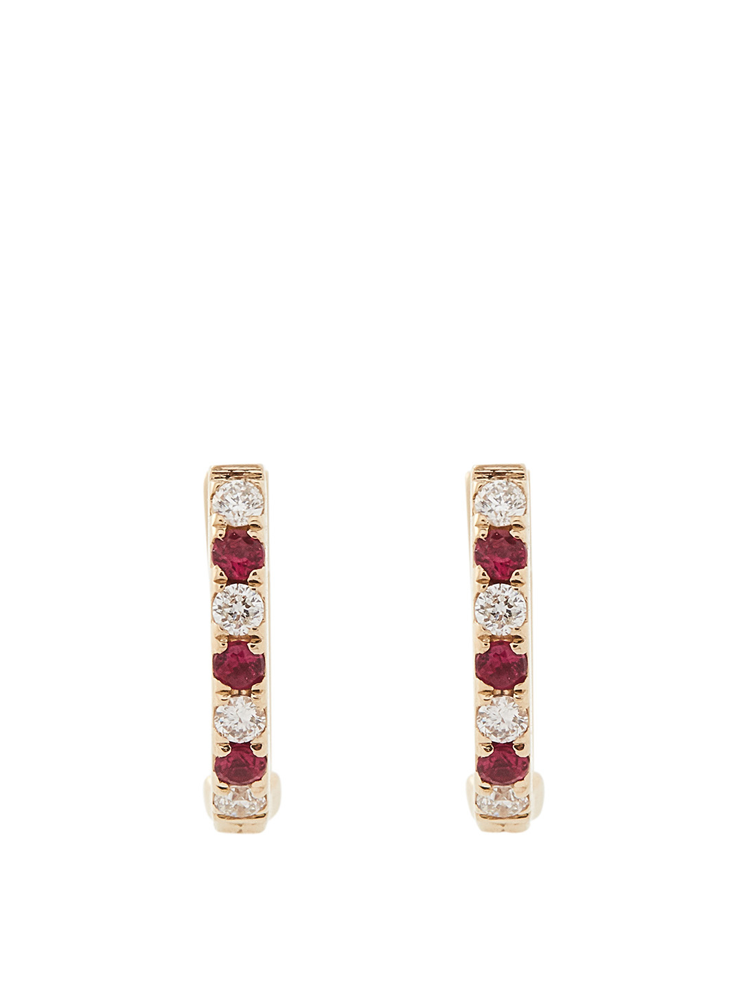 EF COLLECTION Mini 14K Gold Dot Huggie Earrings With Rubies And Diamonds Women's Metallic