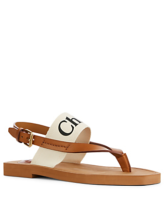 CHLOÉ Woody Leather And Canvas Logo Thong Sandals Women's White