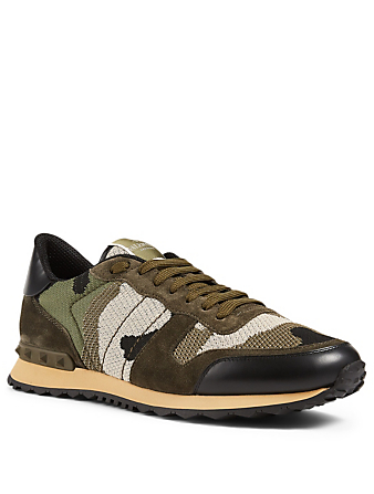VALENTINO GARAVANI Rockrunner Suede And Mesh Sneakers In Camouflage Men's Green