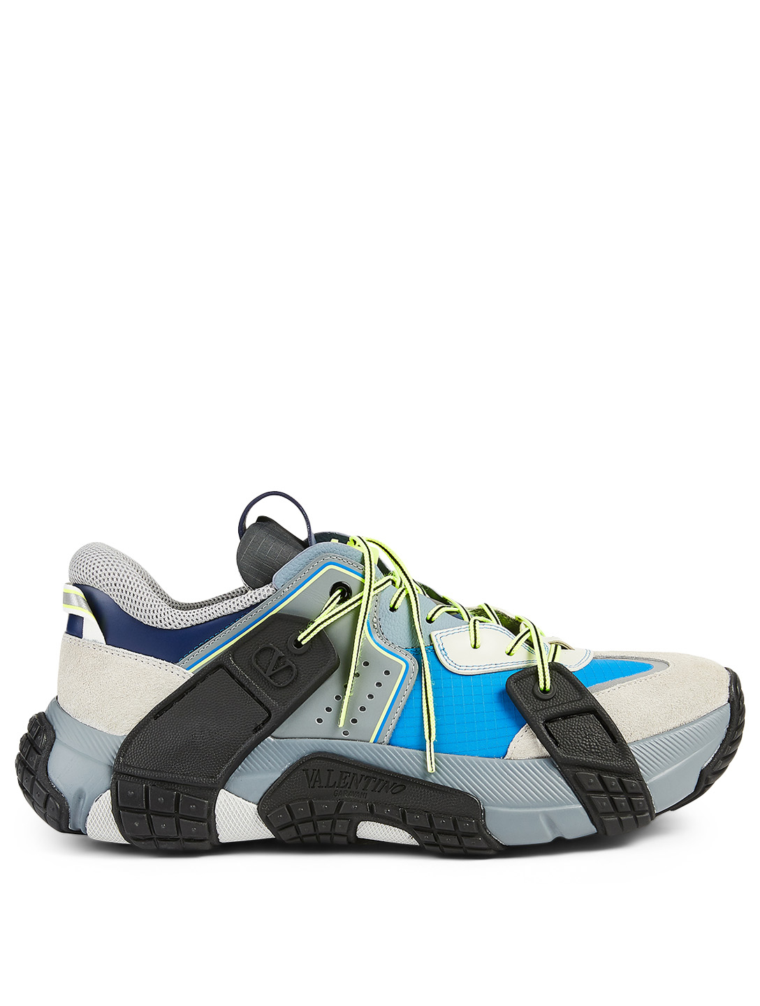 VALENTINO GARAVANI VLTN Wod Fabric, Leather And Suede Sneakers Men's Grey