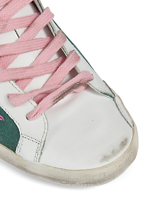 GOLDEN GOOSE Superstar Suede Sneakers With Snake-Print Star Women's Green