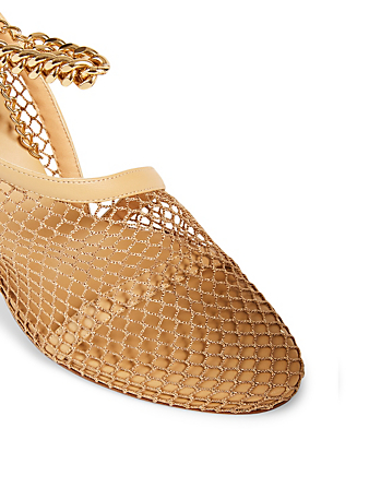 BOTTEGA VENETA Leather And Mesh Heeled Sandals With Chain Women's Beige