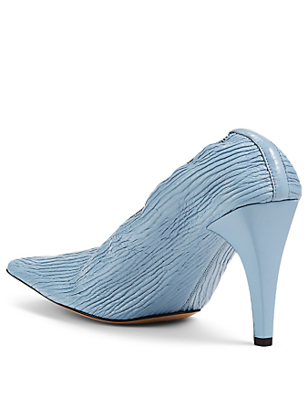 BOTTEGA VENETA Crunch Sharpei Leather Pumps Women's Blue