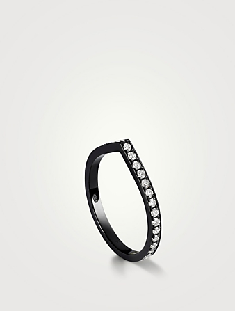REPOSSI Antifer 18K Black Ring With Diamonds Women's Black