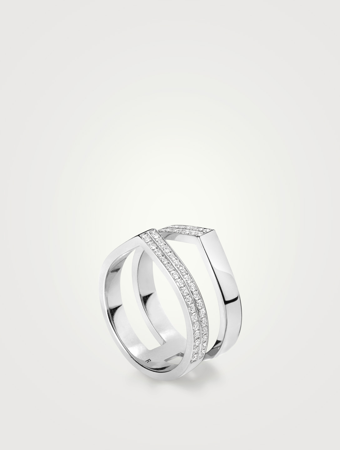 REPOSSI Antifer Off-Width 18K White Gold Ring With Diamonds Women's Metallic