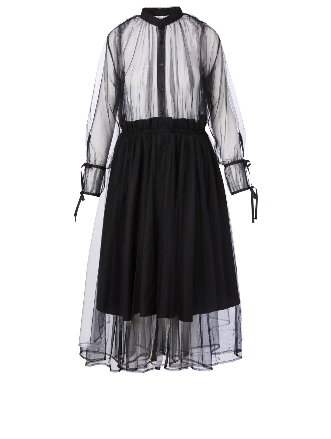 NOIR KEI NINOMIYA Tulle Long-Sleeve Dress Women's Black