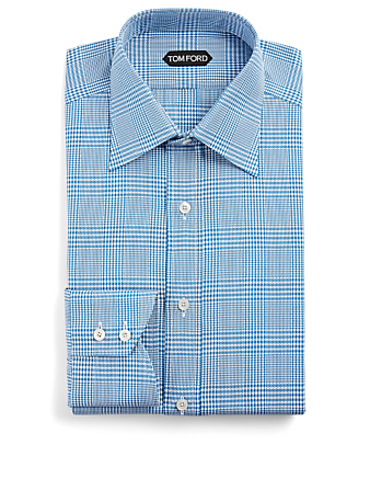 TOM FORD Cotton Shirt In Plaid Print Men's Blue