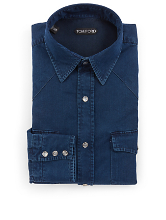 TOM FORD Cotton Western Shirt Men's Blue