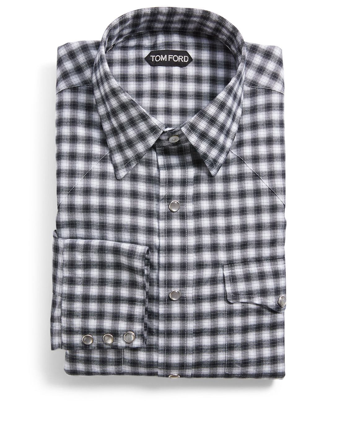 TOM FORD Cotton Western Shirt In Plaid Print Men's Black