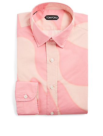 TOM FORD Cotton-Blend Shirt In Wave Print Men's Pink