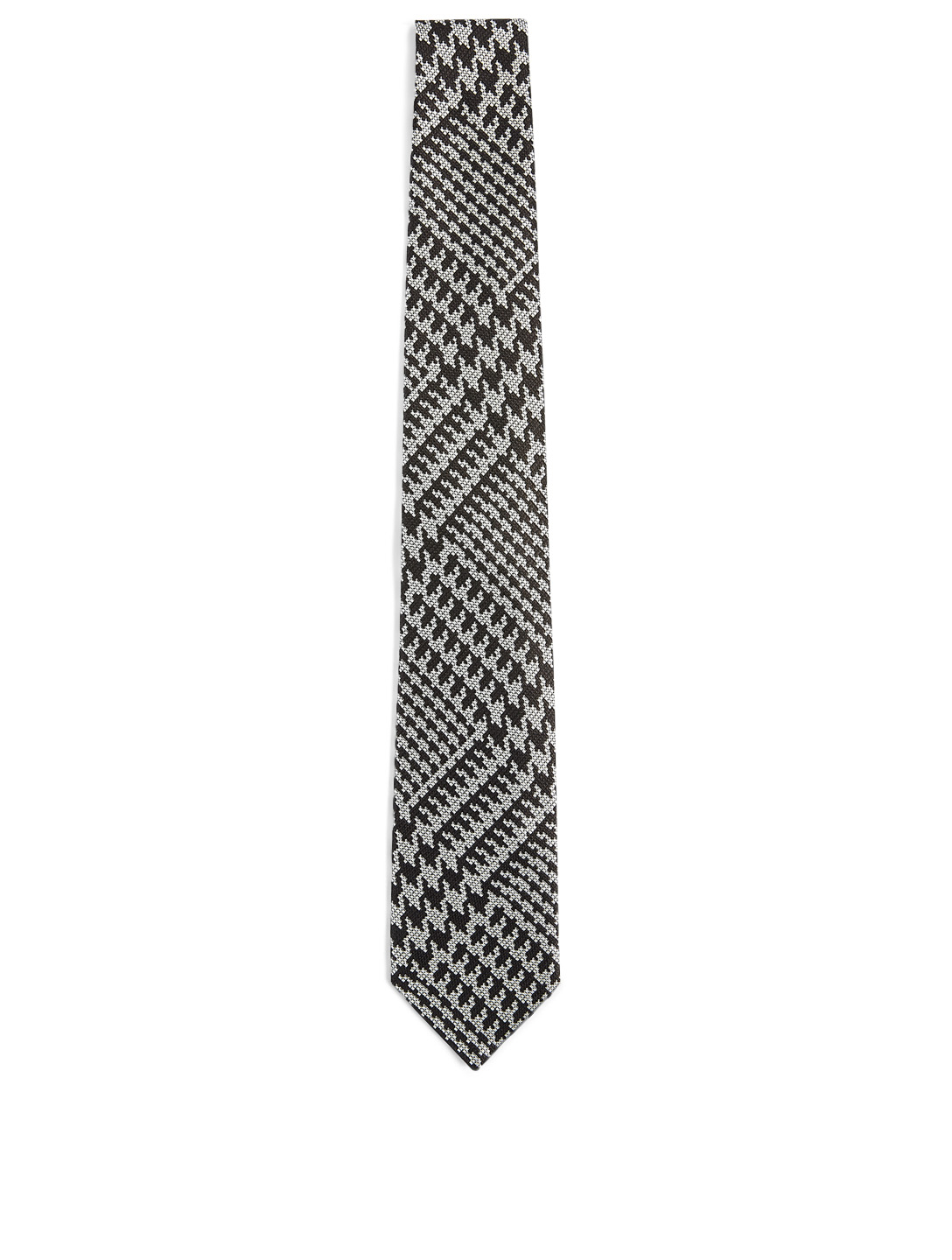 TOM FORD Silk Tie In Houndstooth Print Men's Black