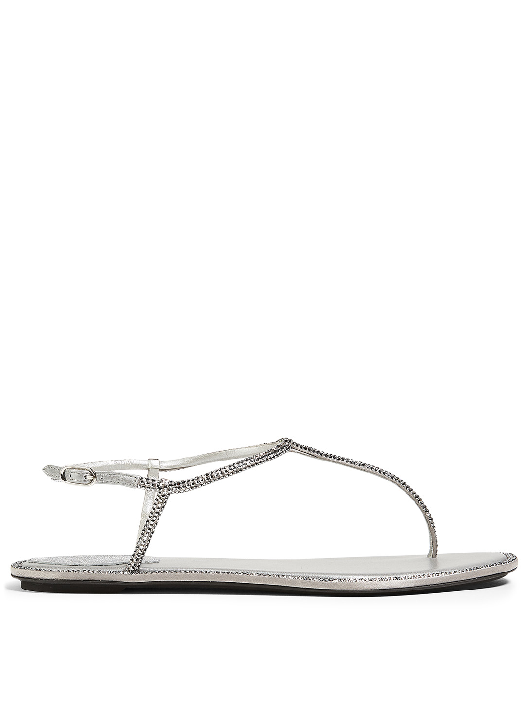 RENE CAOVILLA Diana Flip Crystal Satin Thong Sandals Women's Grey