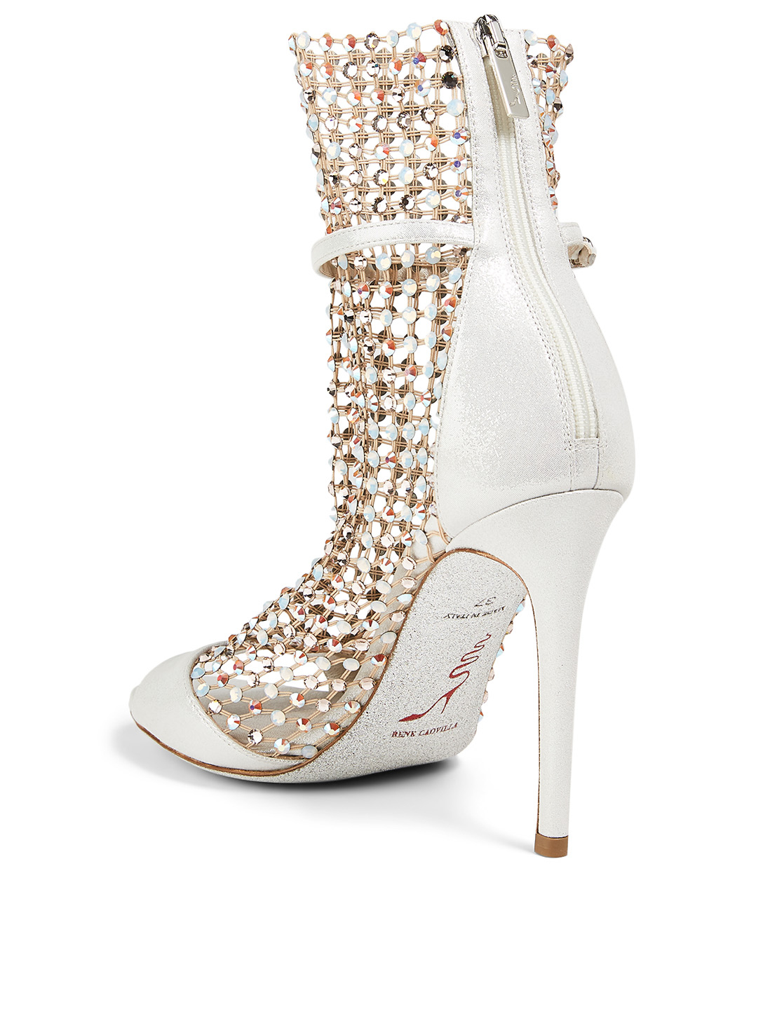RENE CAOVILLA Galaxia 105 Metallic Leather And Crystal-Net Heeled Sandals Women's White