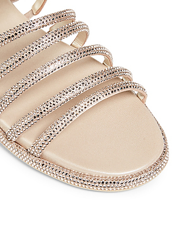 RENE CAOVILLA Frida Crystal Satin Slide Sandals Women's Beige