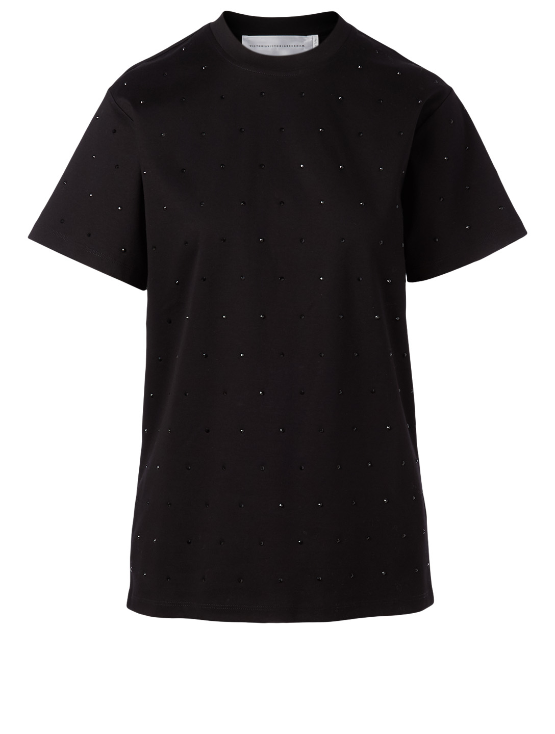VICTORIA VICTORIA BECKHAM Cotton Embellished T-Shirt Women's Black