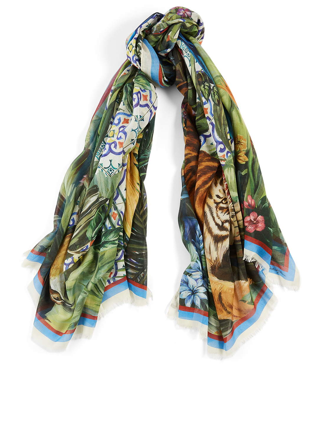 DOLCE & GABBANA Modal And Cashmere Scarf In Jungle Maiolica Print Women's Multi