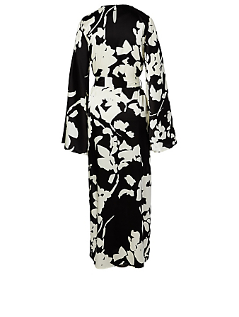 CAROLINE CONSTAS Lilliana Silk Stretch Maxi Dress Women's Black