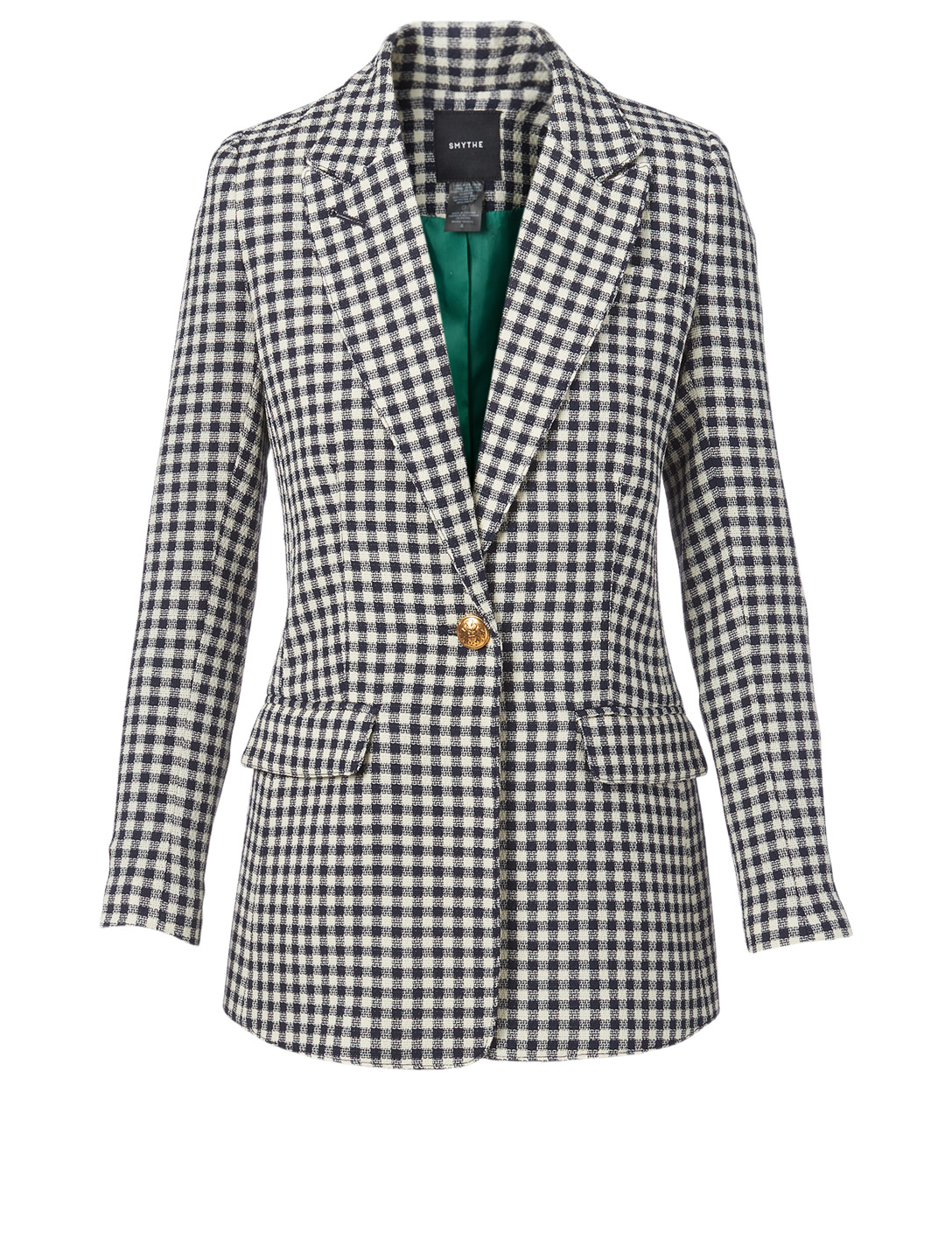 SMYTHE Wool Tailored Blazer In Check Print Women's Blue