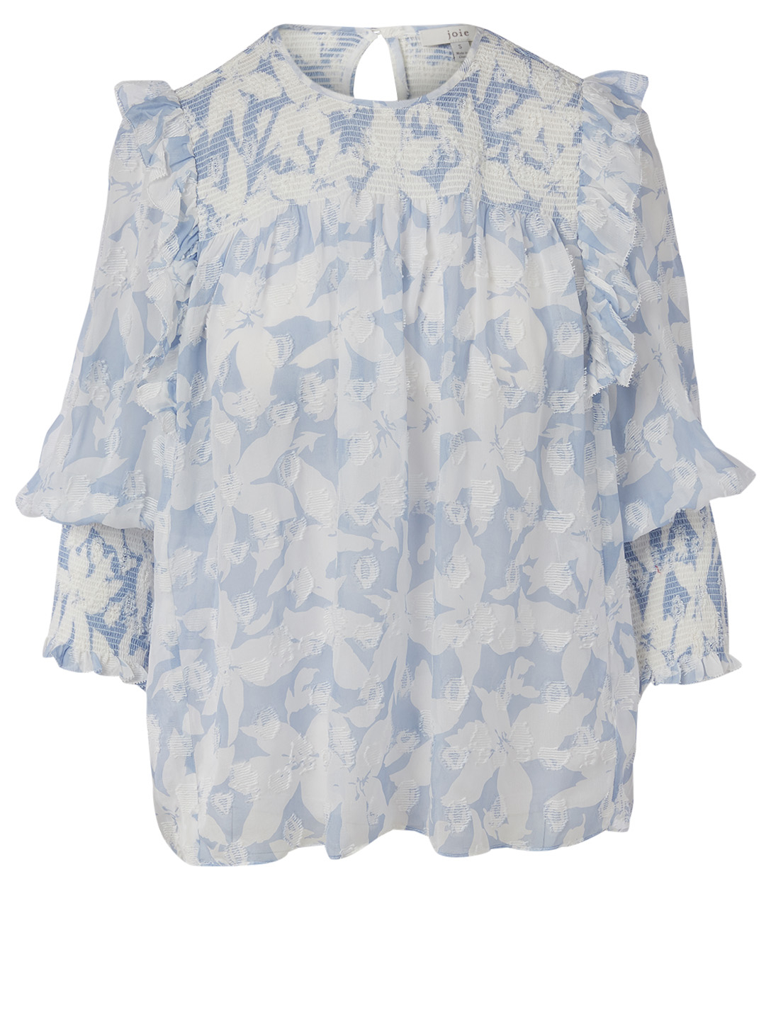 JOIE Jamila Silk And Cotton Blouse In Hibiscus Print Women's Blue