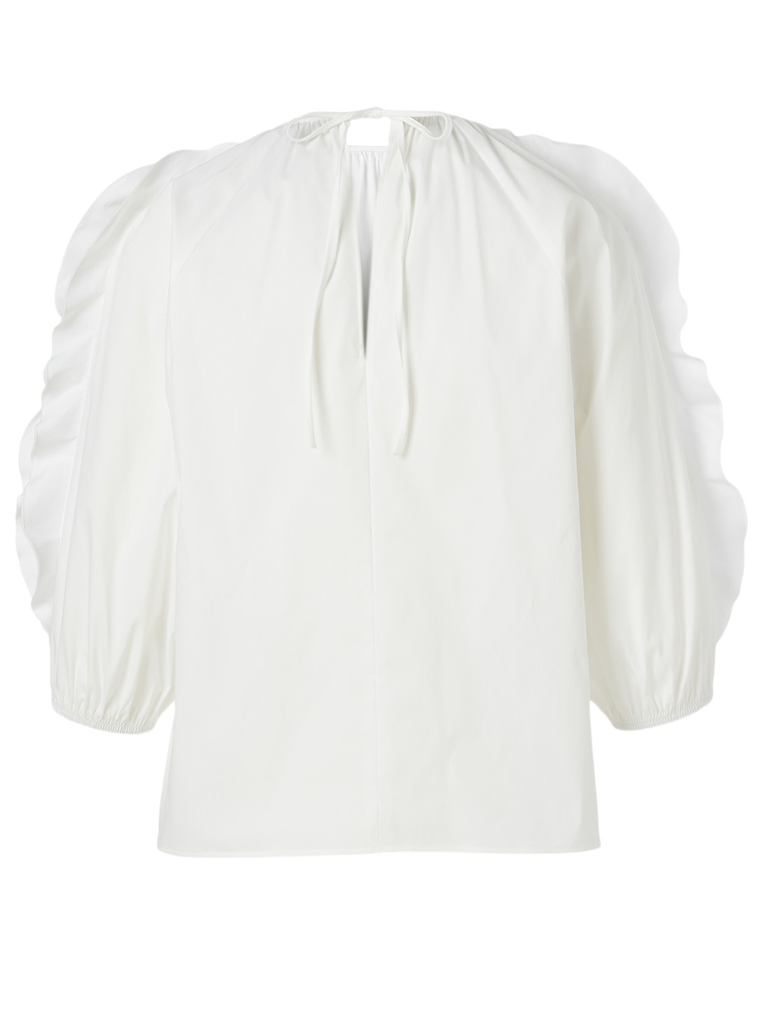 RED VALENTINO Cotton Poplin Ruffled Top Women's White