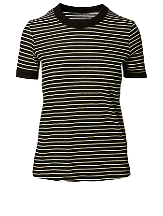 RTA Quinton Cotton And Cashmere T-Shirt In Striped Print Women's Black
