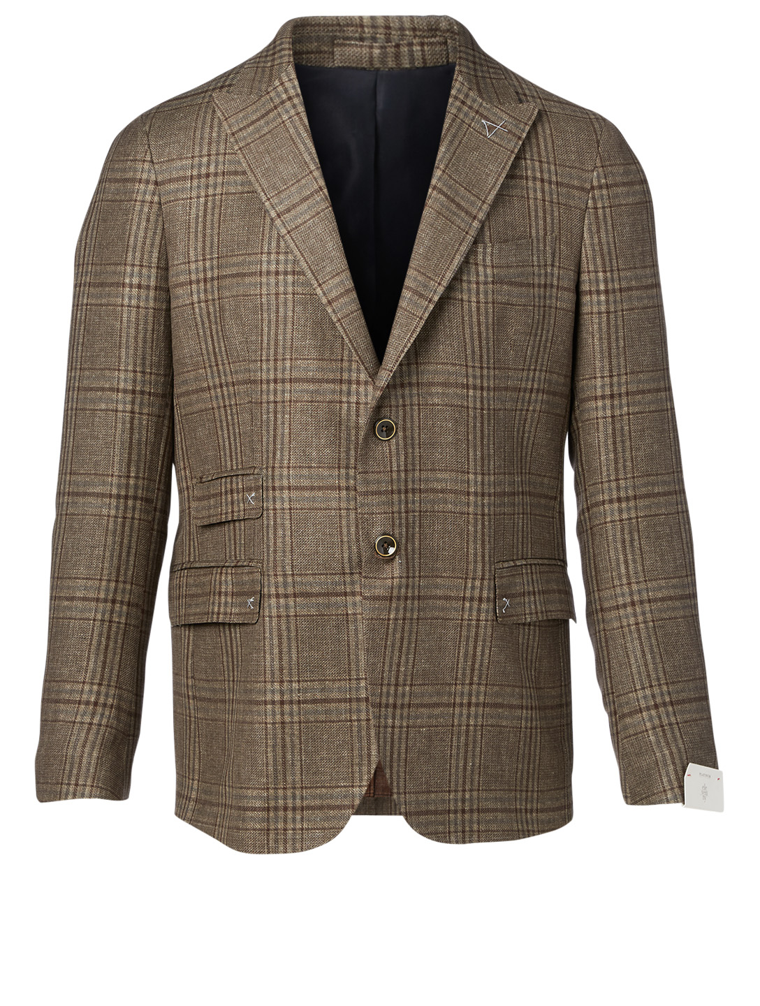 ELEVENTY Linen And Wool Jacket In Plaid Print Men's Green