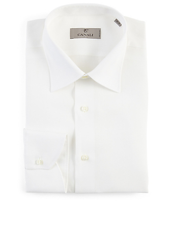 CANALI Linen Long-Sleeve Shirt Men's White