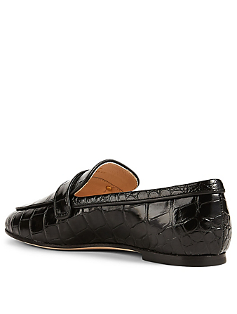 TOD'S Croc-Embossed Leather Loafers Women's Black