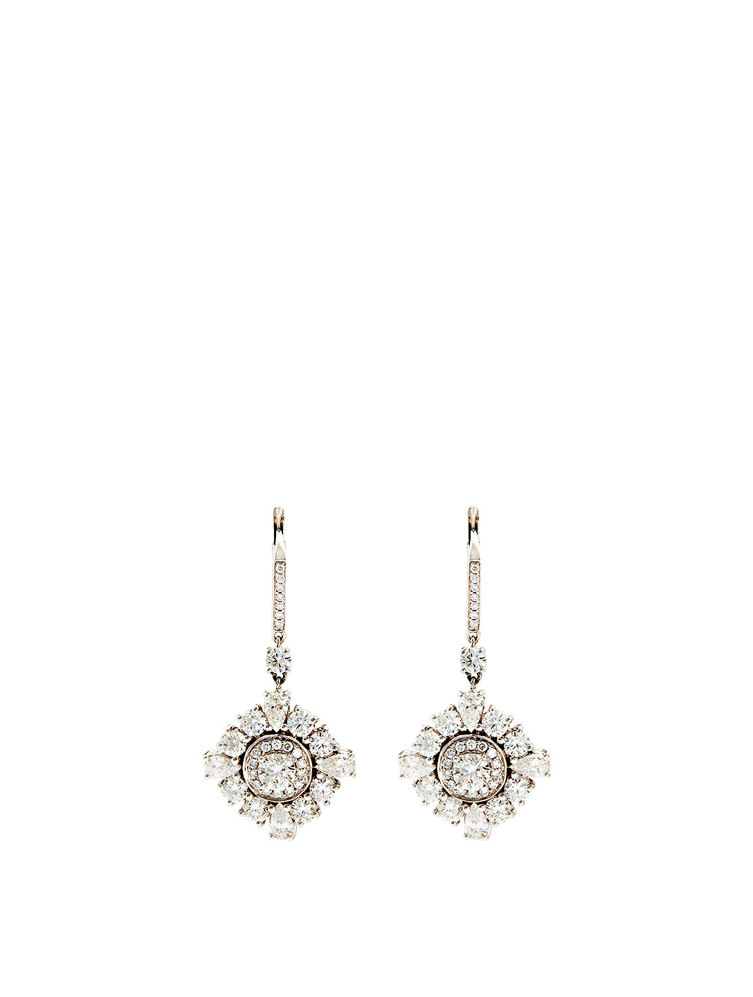 MARIA CANALE Essentials 18K White Gold Princess Drop Earrings With Diamonds Women's Metallic