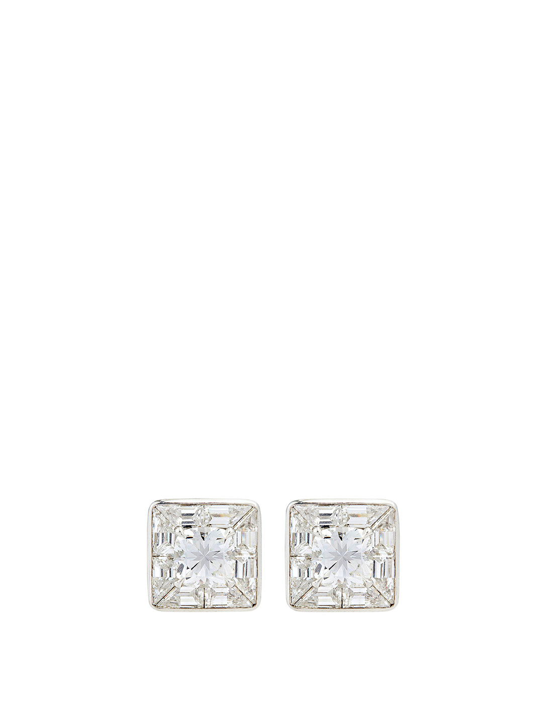MARIA CANALE Deco Platinum Bespoke Cushion Diamond Earrings Women's Metallic