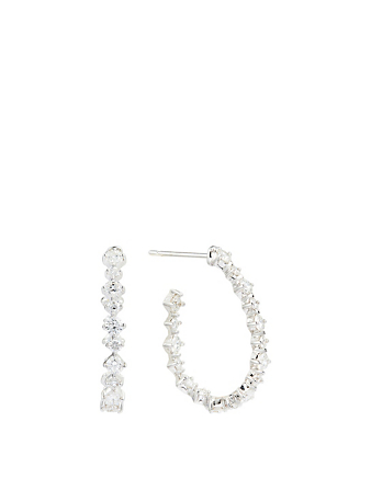 MARIA CANALE Essentials 18K White Gold Hoop Earrings With Diamonds Women's Metallic