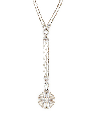 MARIA CANALE Pastiche 18K White Gold Starburst Medallion Necklace With Diamonds Women's Metallic