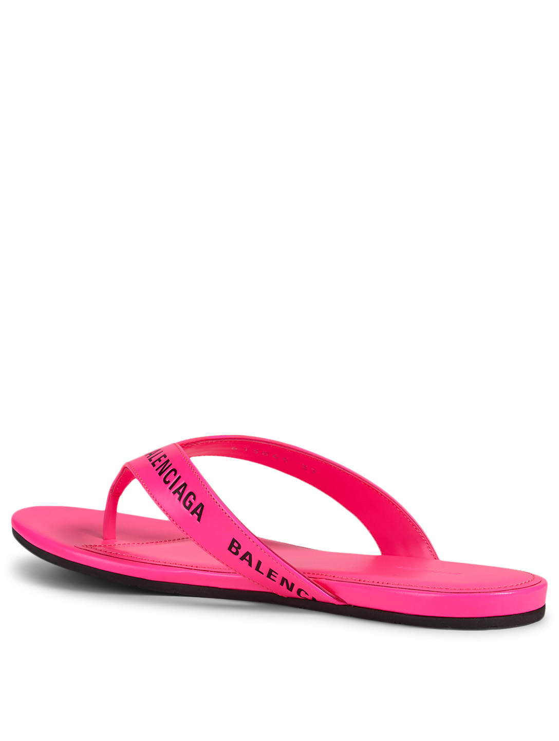 BALENCIAGA Round Leather Logo Thong Sandals Women's Pink