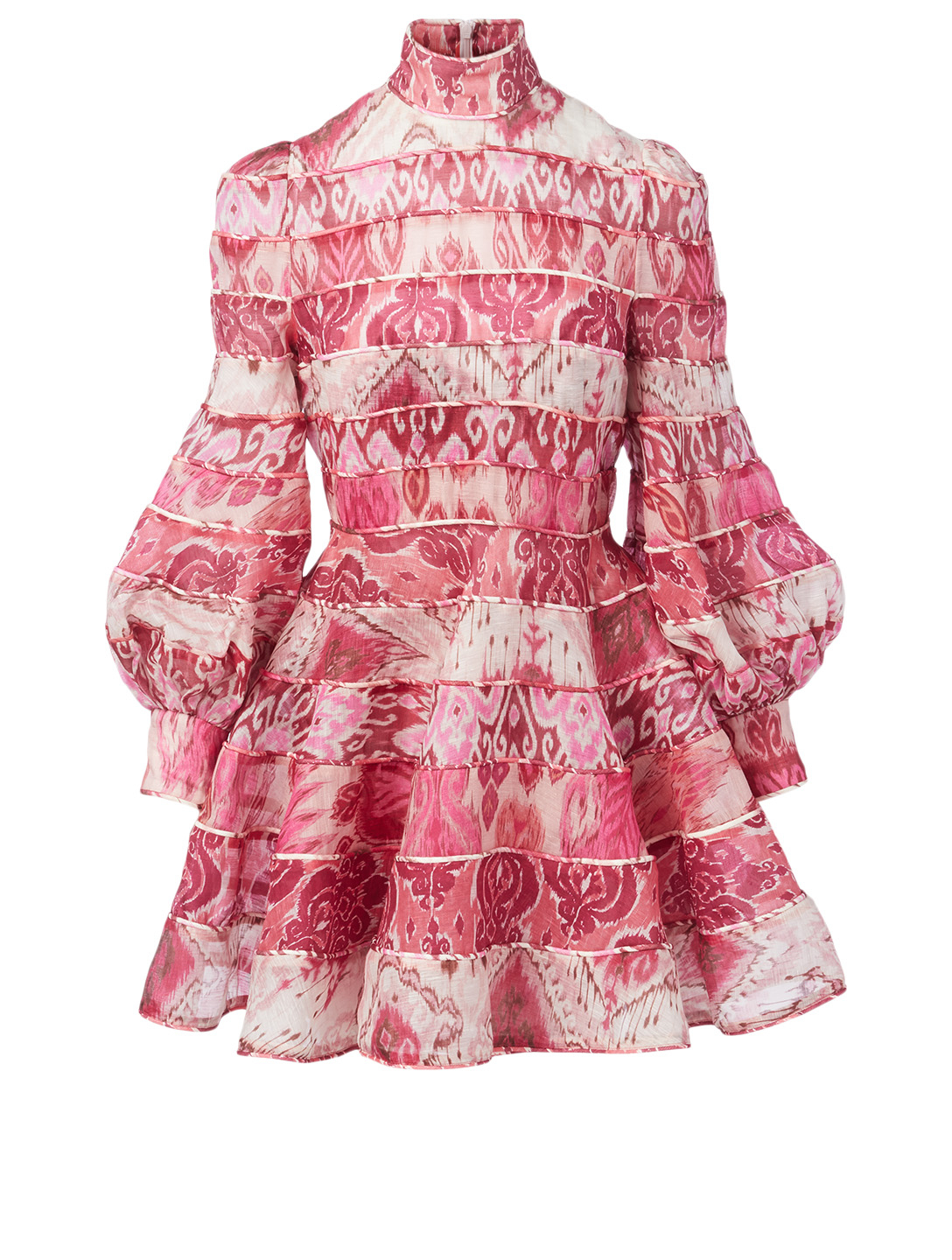 ZIMMERMANN Wavelength Linen And Silk Mini Dress In Ikat Print Women's Pink