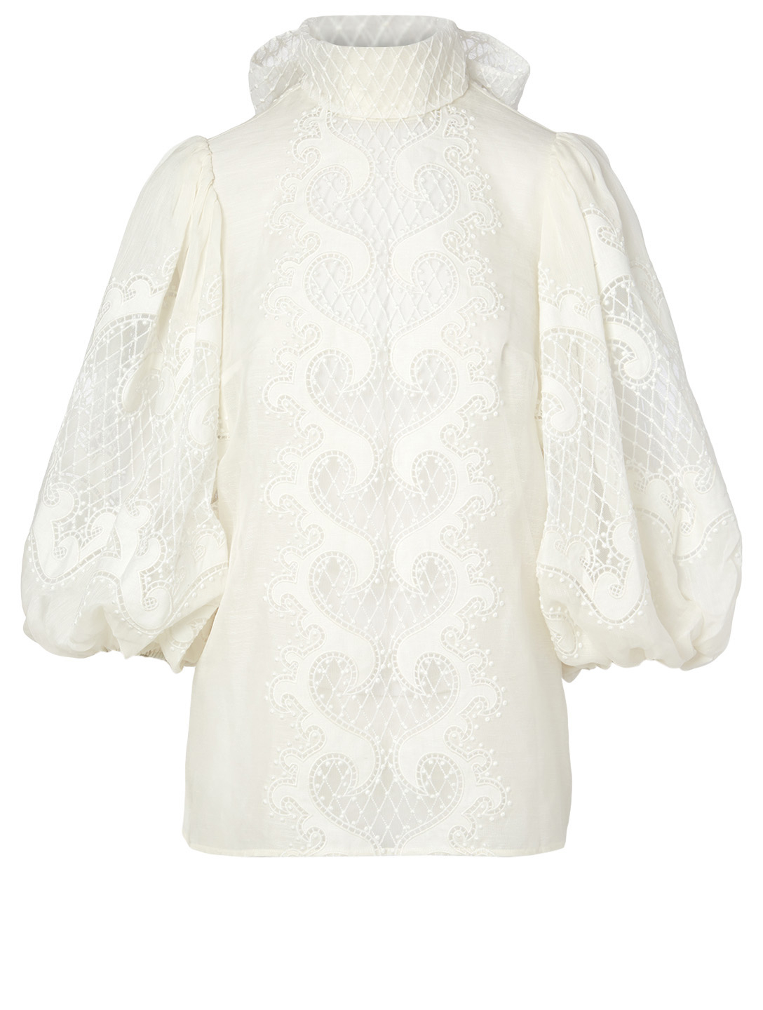 ZIMMERMANN Brightside Linen And Silk Embroidered Blouse Women's White