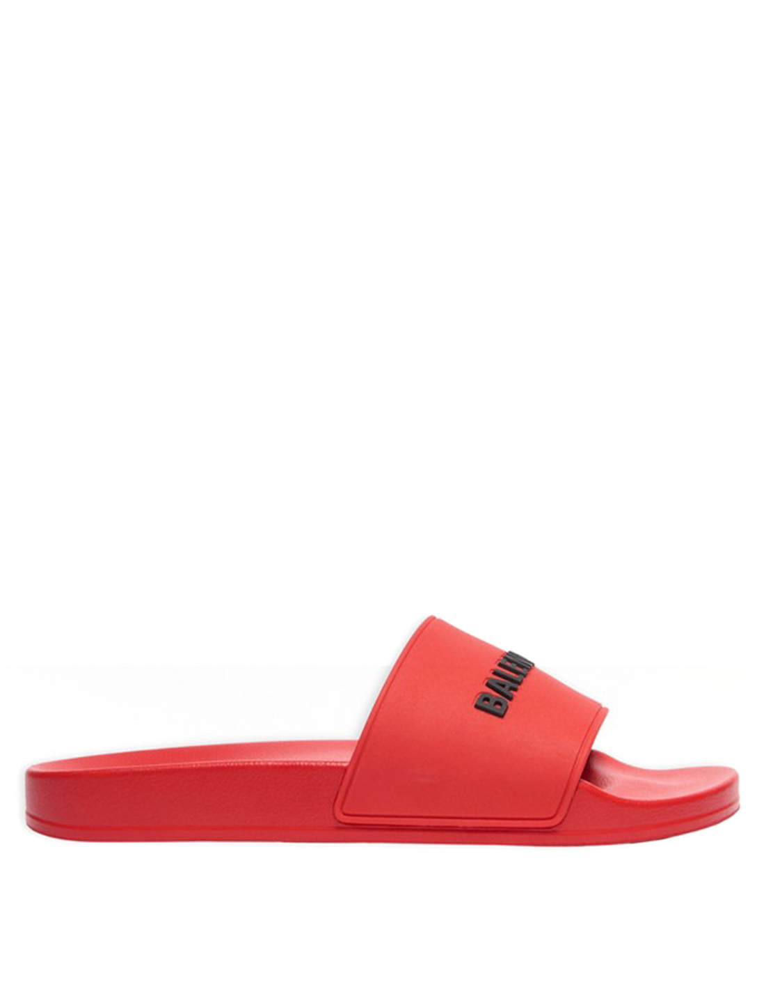 BALENCIAGA Rubber Logo Slide Sandals Men's Red