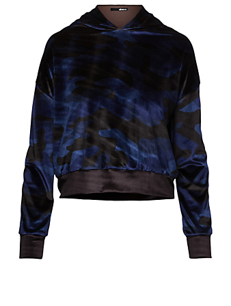 ULTRACOR Radon Velvet Crop Hoodie In Camo Print Women's Blue