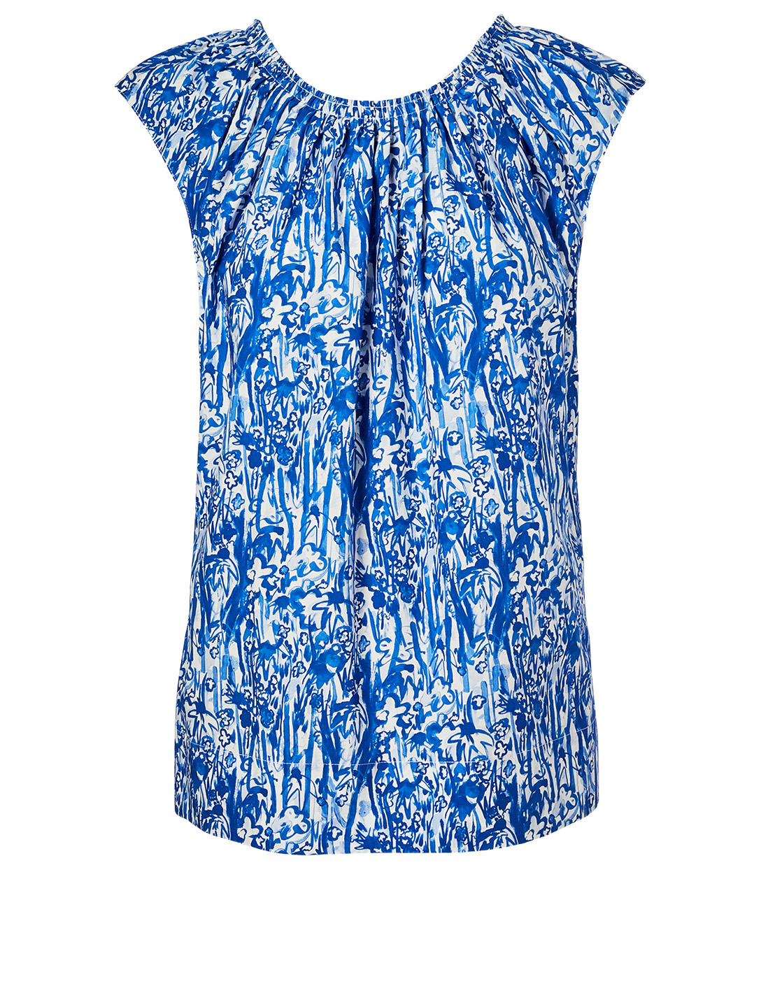 MARNI Cotton Sleeveless Blouse In Floral Print Women's Blue