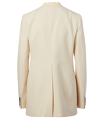 GIVENCHY Double-Breasted Collarless Jacket Women's White