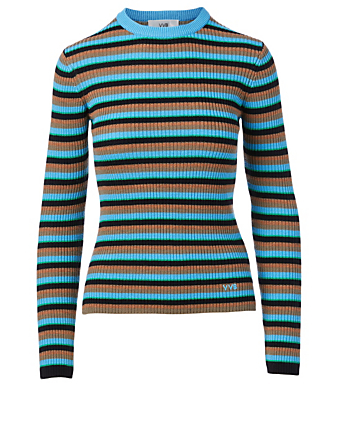 VICTORIA VICTORIA BECKHAM Wool Crewneck Top In Striped Print Women's Blue