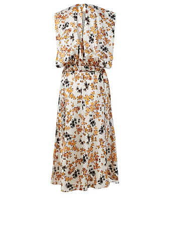 VICTORIA VICTORIA BECKHAM Sleeveless Midi Dress In Floral Print Women's Multi