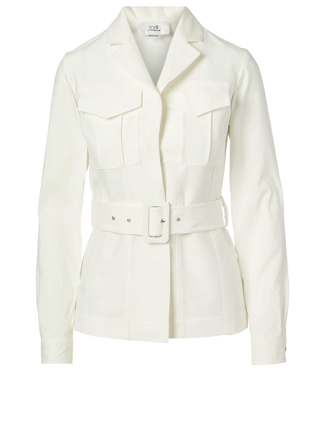 VICTORIA VICTORIA BECKHAM Cotton-Blend Safari Jacket With Belt Women's White